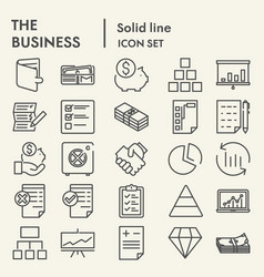 business line icon set management symbols vector image