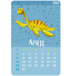 Calender template for april with brontosaurus vector