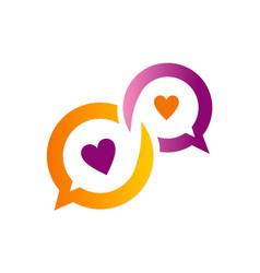 Chat love heart communication logo vector