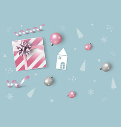 christmas and new year design pink gift box vector image