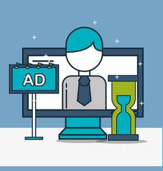 computer businessman time advert digital marketing vector image
