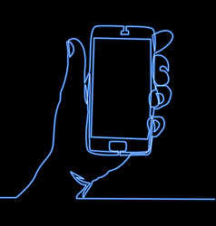Continuous line hand holding smartphone neon vector