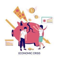 Corona virus economic crisis flat vector