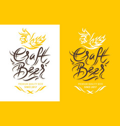 craft beer calligraphic label vector image