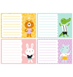 Cute note cards for kids vector