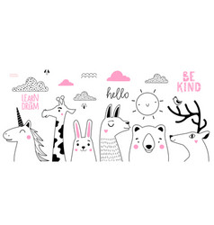 doodle style hand drawn sketch collection vector image