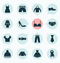dress icons set with belt shorts skirt and other vector image