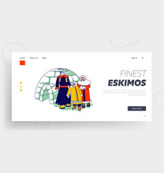 Eskimos family landing page template characters vector