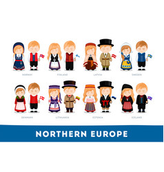 europeans in national clothes northern europe vector image