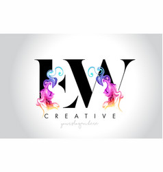 Ew vibrant creative leter logo design with vector
