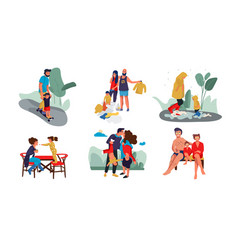 family scenes happy parents and children trendy vector image