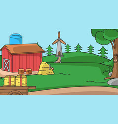Farm background expanse meadow with red huts vector