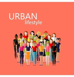 flat of female community with a large group of vector image
