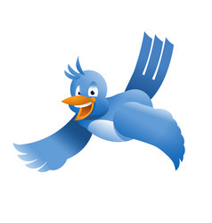 Flying twitter bird vector