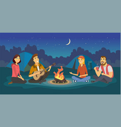 Friends on a camp - cartoon people character vector