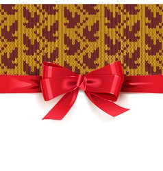 Gift Bow with Autumn Knitted Pattern 2 vector