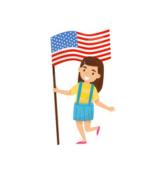 Girl holding national flag of united states of vector