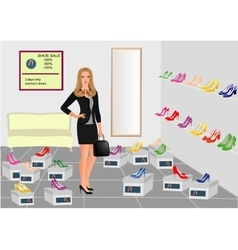 Girl in the shoe shop with set of shoes vector image