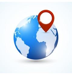 Globe navigation pin vector