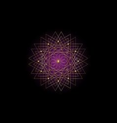 gold sacred geometry seed life logo mandala vector image