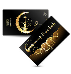 Golden hookah cafe business card vector