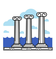 Greek antique columns cyprus travel landmark vector