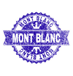 Grunge textured mont blanc stamp seal with ribbon vector