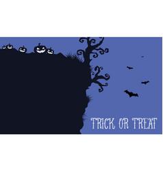 halloween night withn pumpkin and bat landscape vector image