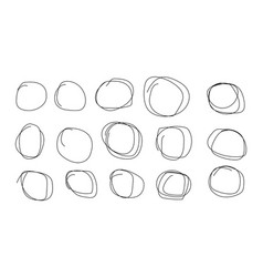 Hand drawn circles with strokes black scribbles vector