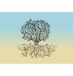 Hand drawn tree isolated sketch in vintage style vector image