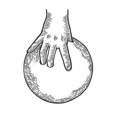 hand with bowling ball engraving vector image
