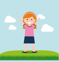 happy kids cartoon vector image