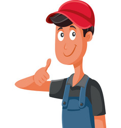 happy worker in uniform holding thumbs up vector image