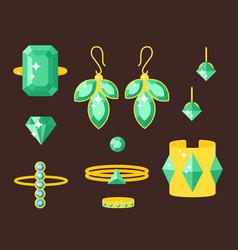 Jewelry items gold elegance gemstones vector