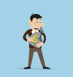 Joyful businessman holding a money bag in his vector