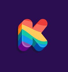 K letter volume logo with pride lgbtq flag pattern vector