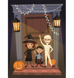 Kids in Halloween festive design concept vector image