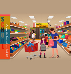 Kids with their parents buying school supplies vector