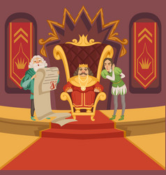 king on the throne and his retinue cartoon vector image