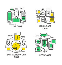 linear people online communication concept vector image