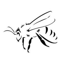 Logo bee black and white bee icon vector