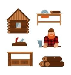 Lumberjack cartoon tools icons vector