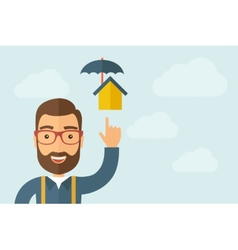 Man pointing the umbrella house icon vector