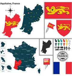 Map of Aquitaine vector image