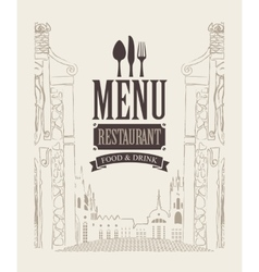 menu with drawing house in old town vector image vector image