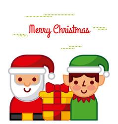 Merry christmas santa and helper gift box vector