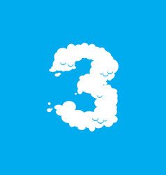 Number 3 cloud font symbol white alphabet sign vector