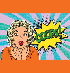 Oops pop art blond woman vector