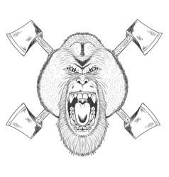 orang utan with axes sketch vector image