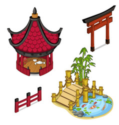 oriental architecture elements for locations vector image